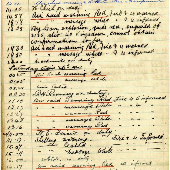 St Margaret's ARP (Air Raid Precautions) Log. Volume 4. 18 February 1941 - 25 September 1941. Pages 45-53