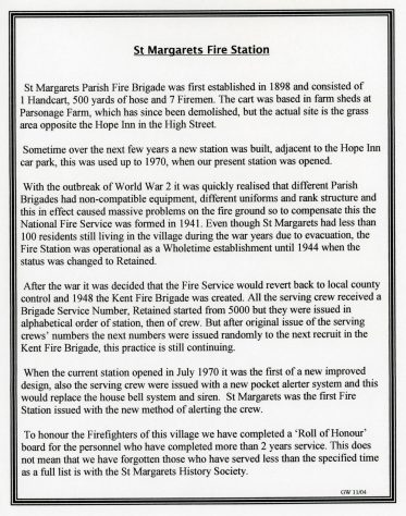 History of St Margaret's Fire Station by G Wainwright