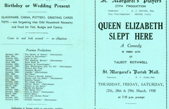 Programme of St Margaret's Players production 'Queen Elizabeth Slept Here'. 1958