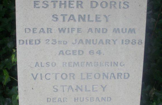 Gravestone of STANLEY Victor Leonard 1999; STANLEY Esther Doris 1988
