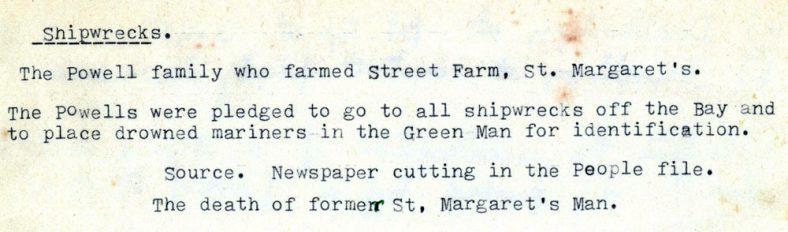 Notes on the Powell family of Street Farm.