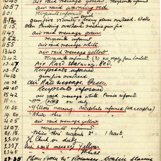 St Margaret's ARP (Air Raid Precautions) Log. Volume 1. 1 September 1939 - 24 July 1940. Pages 121-130