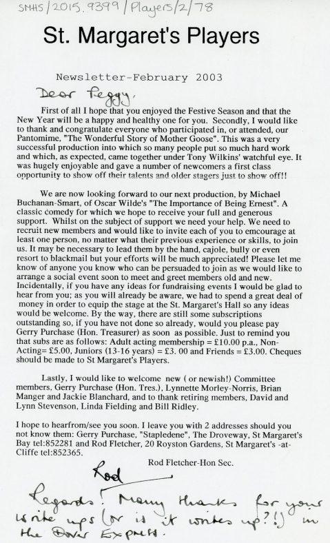 St Margaret's Players Newsletter February 2003
