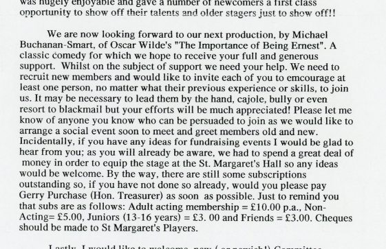 St Margaret's Players Newsletter February 2003