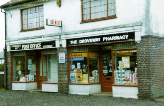 The two shops in The Droveway when they were the Post Office and the Pharmacy. 1991