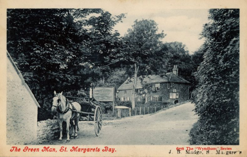 The Green Man at bottom of Bay Hill with horse and cart. c.1910