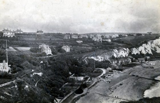 Aerial view of The Bay and The Leas from above Ness Point. c1900