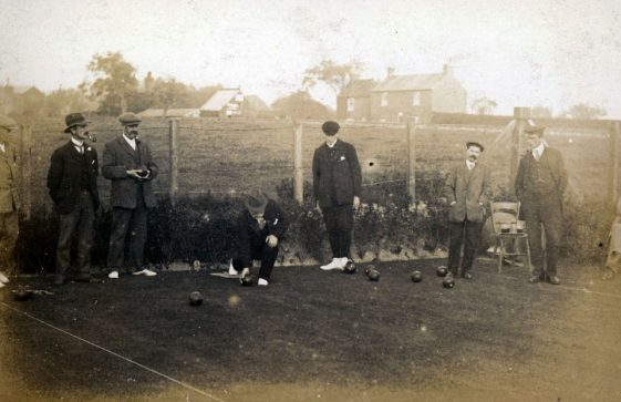 Men's match in progress at St Margaret's Bowls Club. c1914