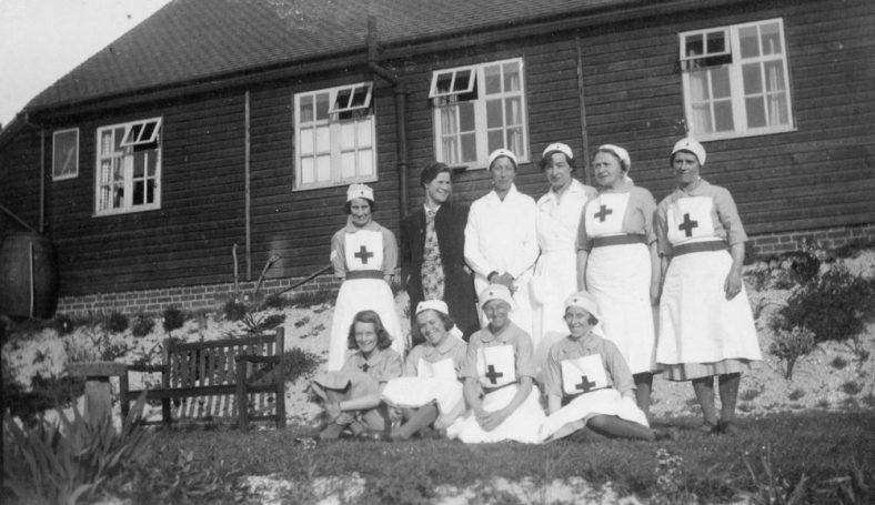 Red Cross nurses in war time