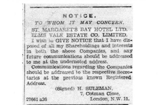 St Margaret's Bay Hotel shareholdings disposed of by H Suleman. 1939