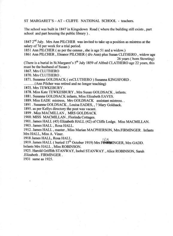 List of teachers at the National School, Kingsdown Road between 1847 - 1931