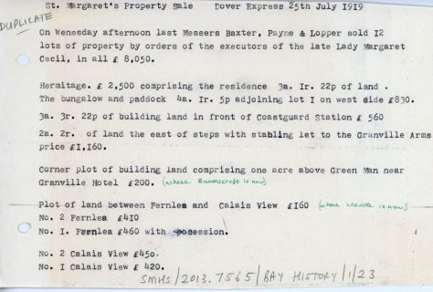 Auctioneers report on the sales of the Hermitage Estate in St Margaret's Bay. 1919