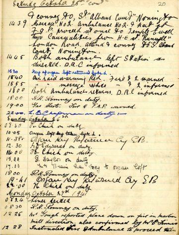 St Margaret's ARP (Air Raid Precautions) Log. Volume 5. 25 September 1941 - 17 July 1942. Pages 20 - 28.