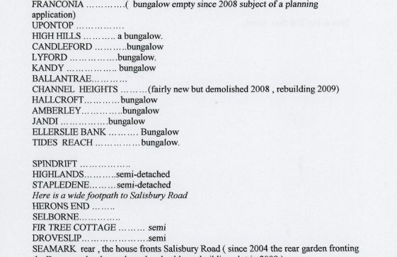 List of house names on the south side of The Droveway. June 2004