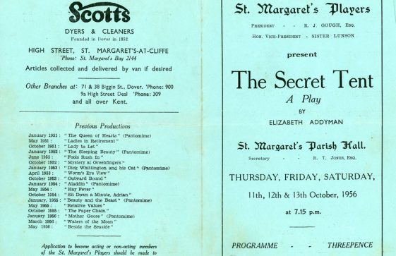 Programme of St Margaret's Players production 'The Secret Tent'. 1956