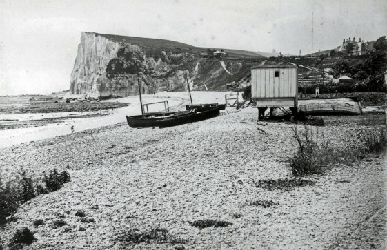 Boats on St Margaret's Bay beach. c 1894