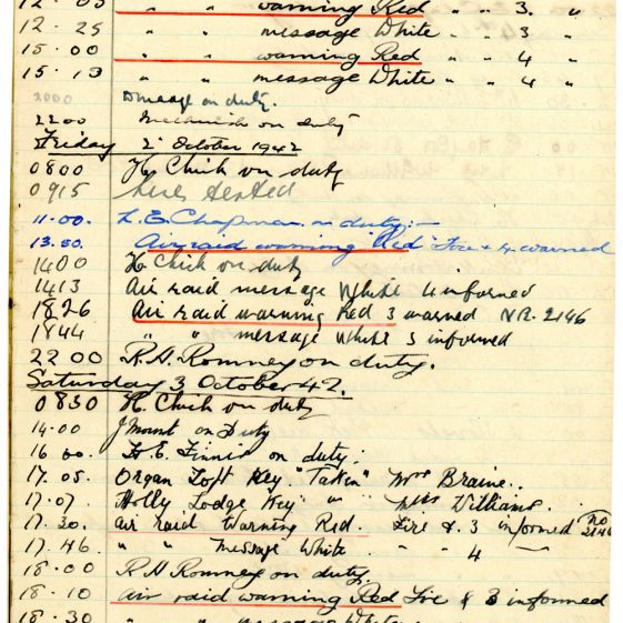 St Margaret's ARP (Air Raid Precautions) Log. Volume 6. 17 July 1942 - 16 February 1943. Pages 58-67