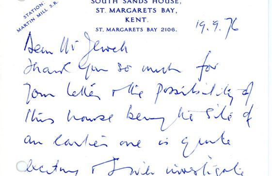 Handwritten card from F Cleary to J G Jewell regarding South Sands House. 1976