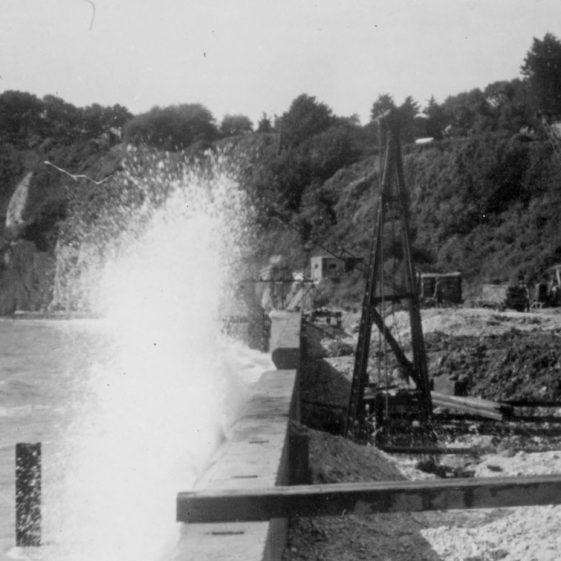 High seas breaching the new promenade in St Margaret's Bay. Early 1950s