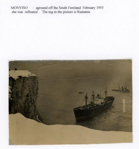 Cargo vessel Monviso aground off South Foreland. 1955