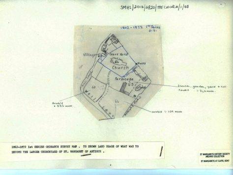 OS Map 1862 showing land around the church.