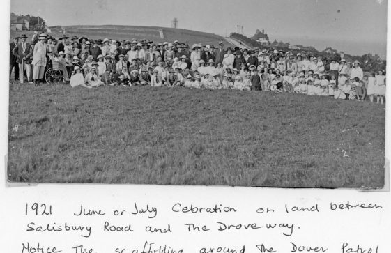 A village event on land between Salisbury Road and The Droveway. c1920