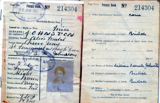 WW1 Permit Book and Local Military Zone of Miss AM Johnston of the Droveway.
