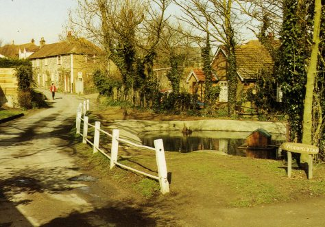 Chapel Lane showing the pond. 20th Century