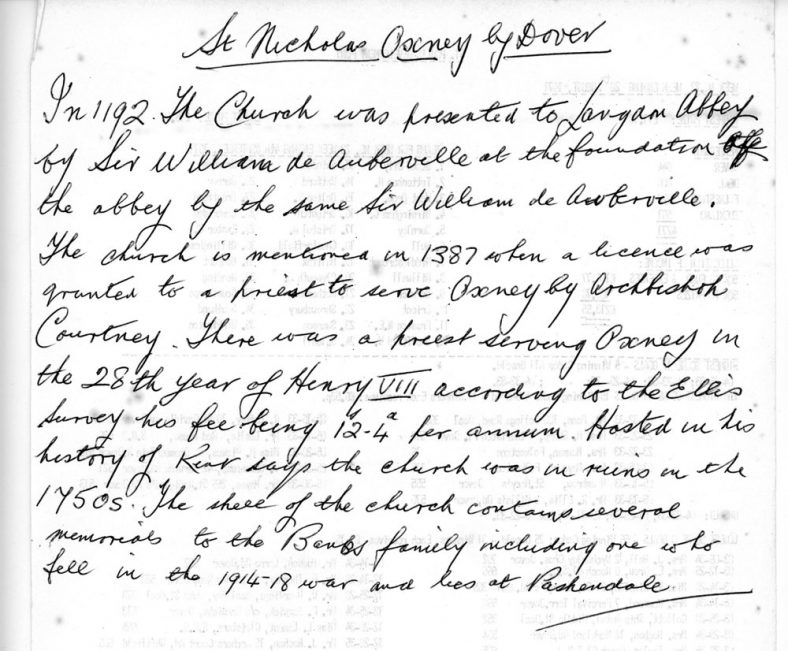 Notes on the history of St Nicholas Church at Oxney