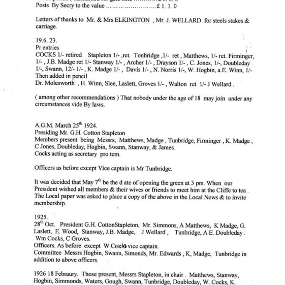 Information on Bowls Club Officials from 1921 to 1934
