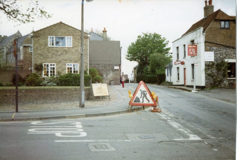 Road works at the junction of High Street and Reach Road. 24 May 1986