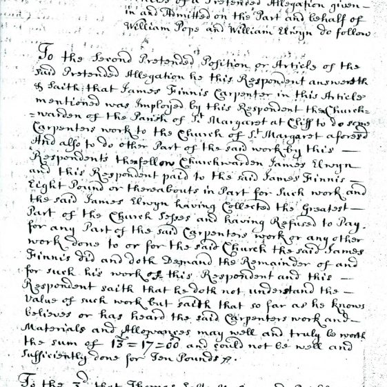 Record of a dispute about work carried out at St Margaret's Church. 16 May 1740