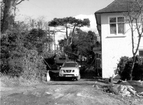 The Pines, Salisbury Road being built in the garden of The Moorings. 2010