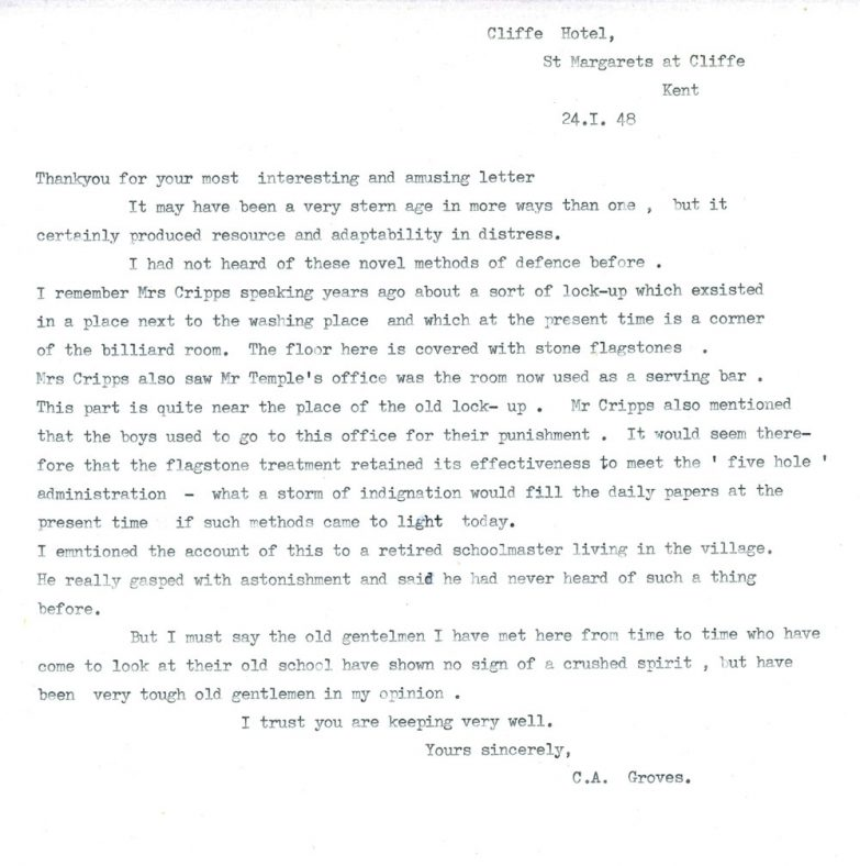 Letter concerning punishments at the former Cliffe House School. 1948