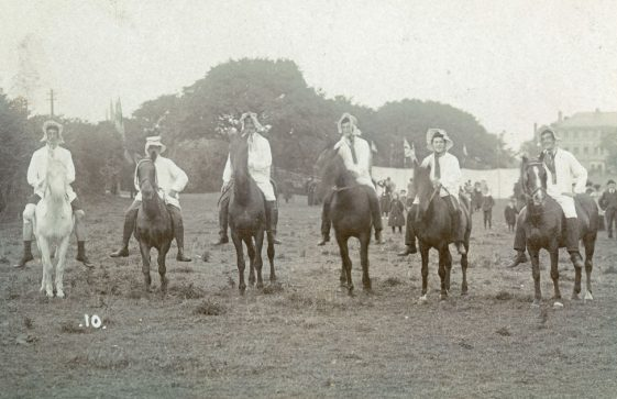 Mounted costume race at St Margaret's Sports Day. 1909