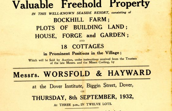 Auctioneer's catalogue for the sale Bockhill Farm and cottages in Kingsdown Road, Reach Road, Station Road etc. 1932