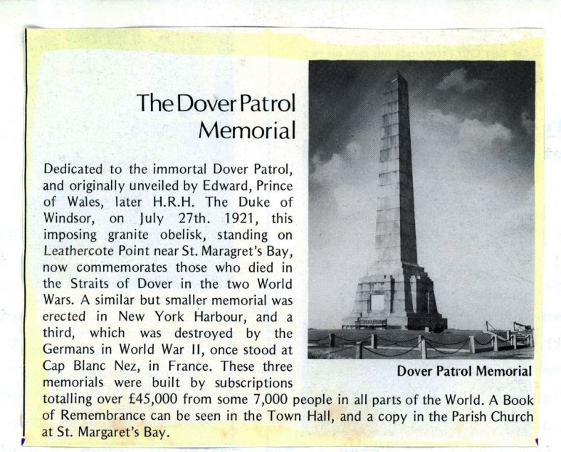 Extract from the St Margaret's Visitors Guide 1925, on Dover Patrol Memorial