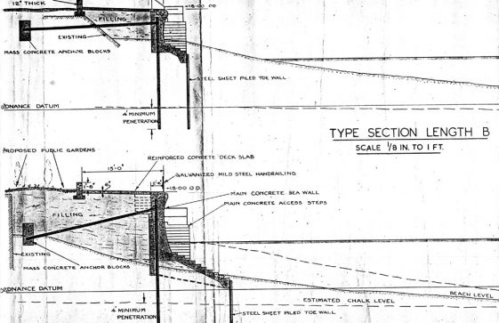 A plan drawing of the proposed new sea wall for St Margarets Bay.1948