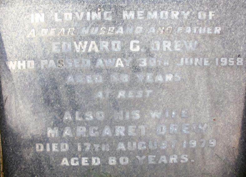 Gravestone of DREW Edward G 1958; DREW Margaret 1979 | Dawn Sedgwick