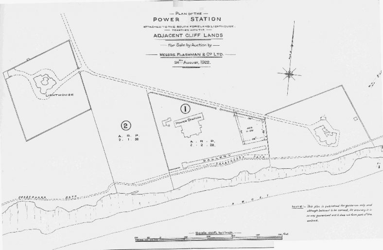 Plan of Upper and Lower South Foreland Lighthouses, power station and cottages. 1922