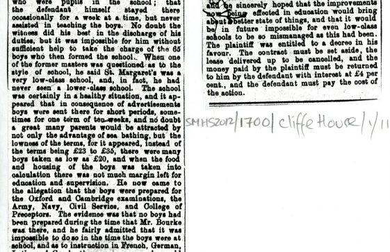 Cliffe House School court case of December 1881, re sale of the school by S G Cripps to G F Denman