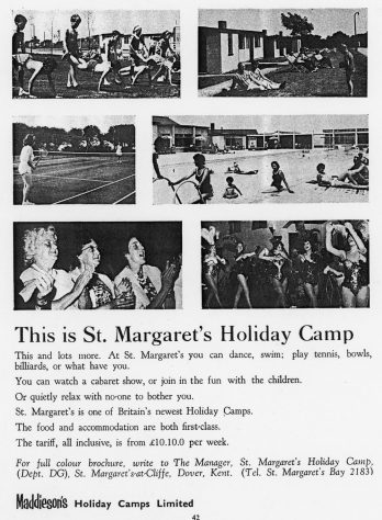 Advertisement for Maddieson's Holiday Camp. 1968