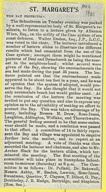 Coastal Protection of the Bay by the 'Case' System. 1901