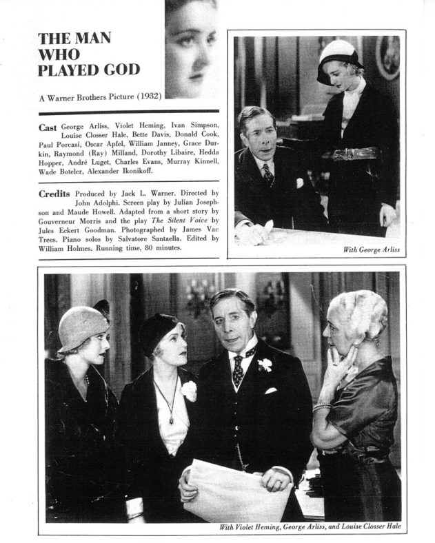Photos  taken with George Arliss in 'The Man Who Played God' 1932