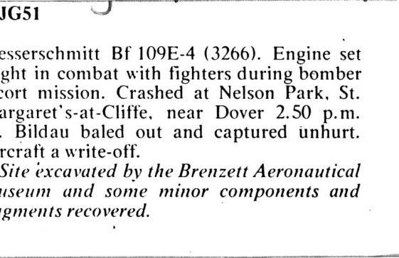 A Messerschmitt 109 downed at Nelson Park. September 15th 1940