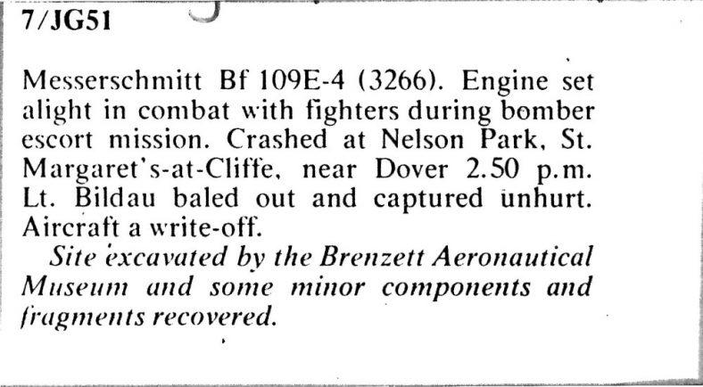 Messerschmitt 109 downed at Nelson Park. September 15th 1940
