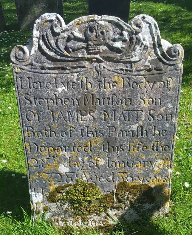 Gravestone of MATTSON Stephen 1728 | Dawn Sedgwick