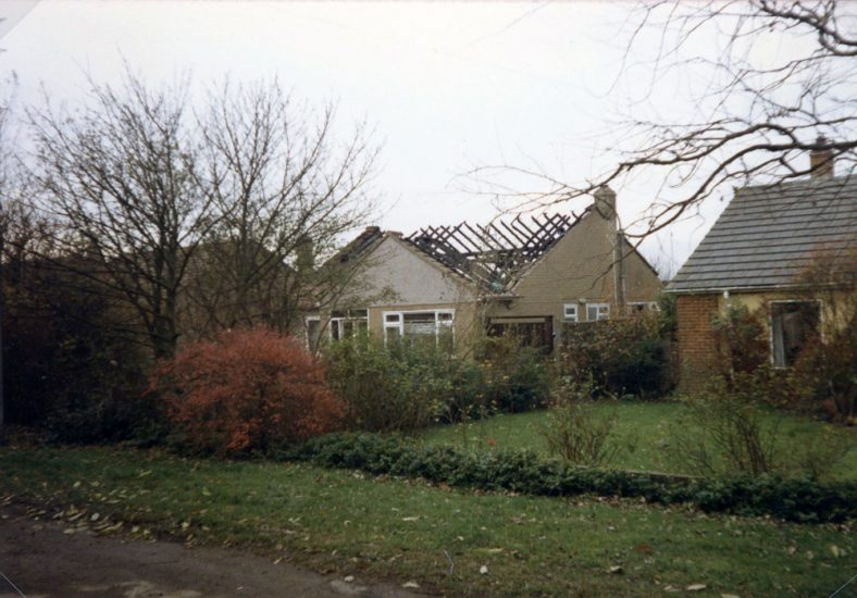 'Sunnyfields' in Lighthouse Road after a disastrous roof fire on 20 November 1985