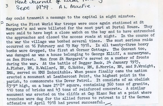 WW1 Events in St Margaret's at Cliffe, extract from an article by AL Macfie. 1979