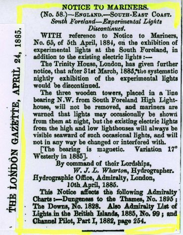 Notice to Mariners No 58 concerning the experimental lights at the South Foreland Lighthouse. The London Gazette April 24 1885.